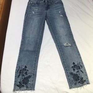 Celebrity pink straight embroidered jeans